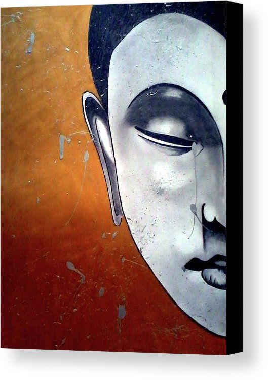 Budha Canvas Print featuring the painting Budha by Nella Kent