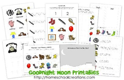 FREE printables to go along with the book Goodnight Moon by Margaret Wise Brown. For #preschool and #kindergarten from Homeschool Creations
