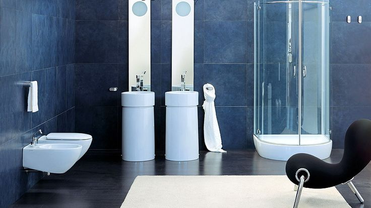 Modern and Unique Bathrooms Design from Flaminia: Elegant Modern Bathroom Design With Dark Blue Tile Wall And Double Washbasin With Tall Mirror And Shower Box And Futuristic Black Tripod Chair On White Mat ~ miaohuifac.com Bathroom Inspiration