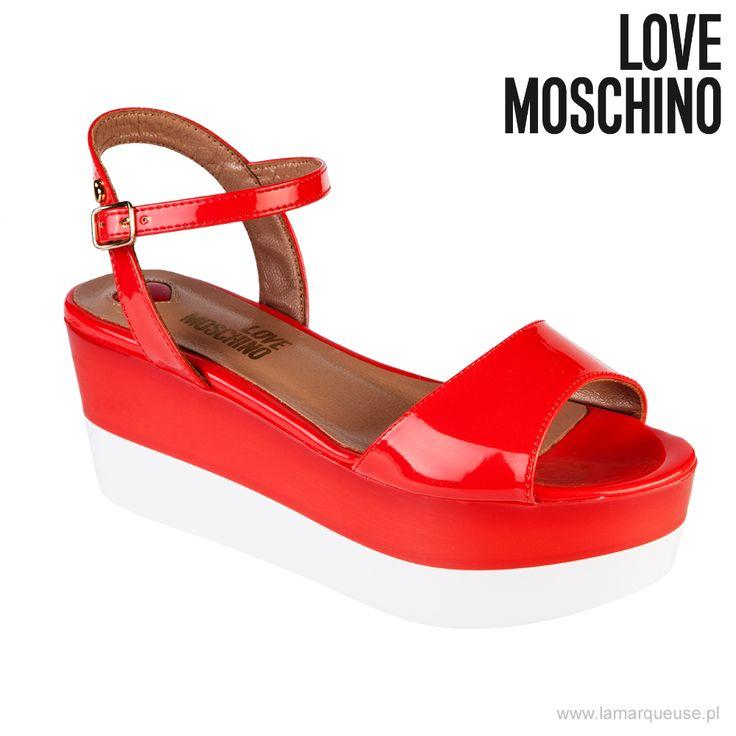 Sandałki Moschino Love, koralowe, zapinane na kostce ...: #sandalki #Moschino #Love #LoveMoschino #LaMarqueuse #trends #trendy :...