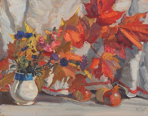 'Leaves and Flowers', 1916 painting by J.E.H. MacDonald at Mayberry Fine Art
