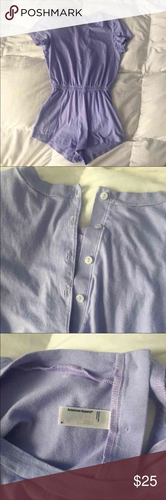 American Apparel Jersey T-Shirt Romper worn twice and in great condition ! i'm 5'4 with a 32 in bust, 26 in waist, and 37 in hips and this romper is just too small on me. pastel colors are discontinued. American Apparel Other