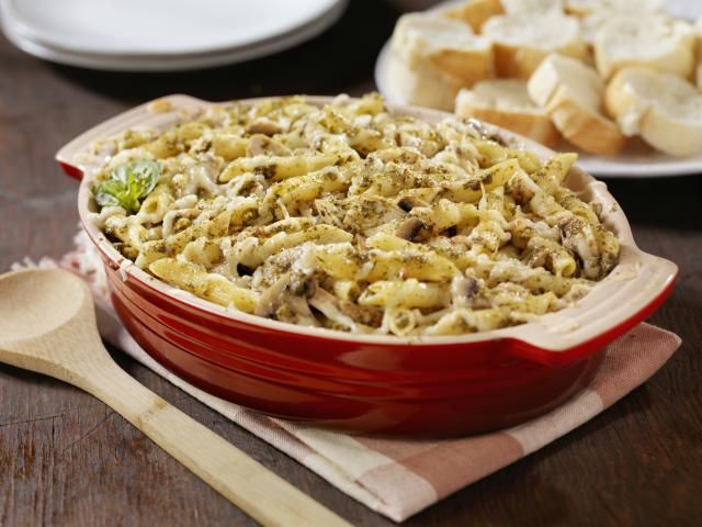 This updated recipe version of Tuna Alfredo Casserole uses only five ingredients, including tuna, pesto, and Parmesan cheese.