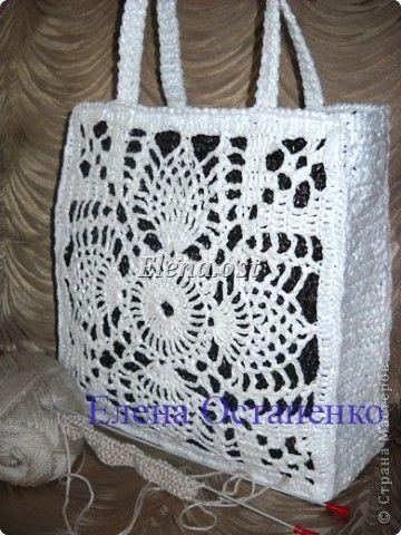 """Cloakroom, Master Class Knitting, Crochet: Crochet bag made of polyethylene """"White pineapple"""" Polyethylene. Photo 27"""