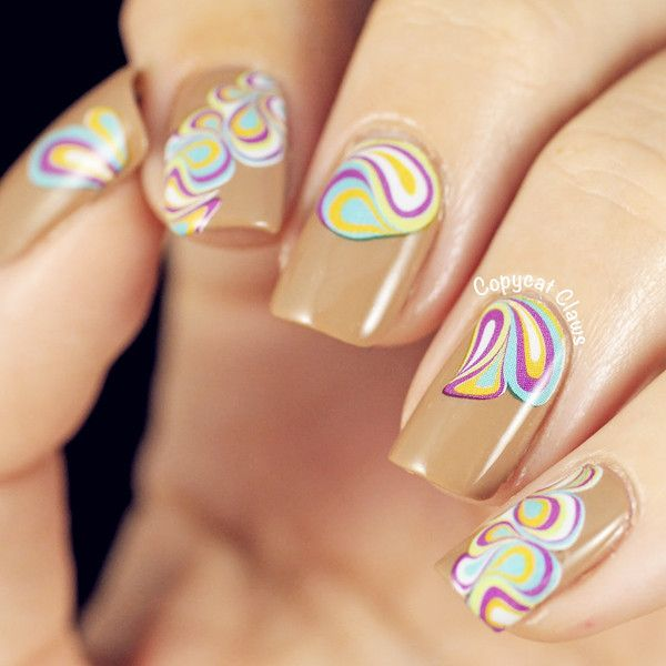 Nail Art Water Decals Transfer Stickers Artistic Vortex Pattern Sticker XF1262 Nail Art Sitckers Sheet