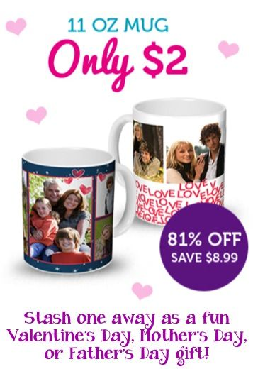 $2 Photo Mug = Fun Gift! {+ s/h} ~ create a fun Valentine's Day, Mother's Day, or Father's Day gift! #photography #mugs #thefrugalgirls