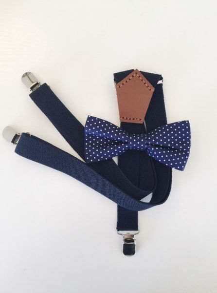 BEST SELLER: Navy Suspenders paired with a Navy Polka Dot Bow Tie.