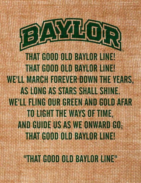 Baylor University burlap wall art That Good Old Baylor Line lyrics item is officially licensed by BU