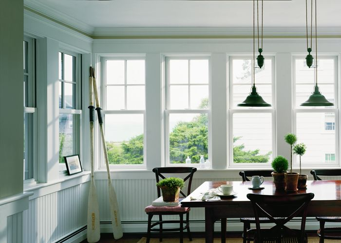 The right way to do a series of windows  400 Series Woodwright Double-Hung Windows, White Interior, Colonial Grilles American Farmhouse Home Style Georgian / Federal Home Style