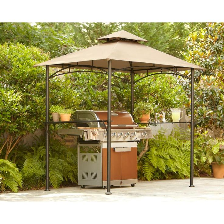 Hampton Bay 8 Ft X 5 Ft Tiki Grill Gazebo L GG019PST