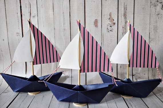 Paper Sailboat Set of 3 Pink and Navy Blue by Msapple on Etsy, $12.00