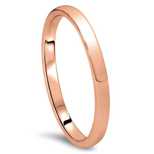 Wedding Band for me - Rose Gold Wedding Band Womens 14K 2MM Dome High Polished Plain Anniversary Ring Size (4-10)