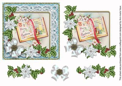 I have designed this sheet as a decoupage sheet, use 3D foam or silicone glue to build the 5 layers up into a gorgeous vintage lace Christmas card front. Ideal for anyone in the holiday season. The image is enhance by the decoupage layer on the top, try adding a little glitter or glaze to enhance it even more.