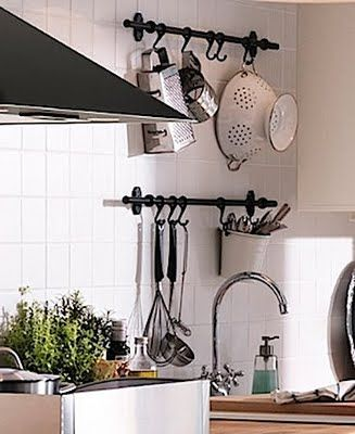 DIY: Decorative Curtain Rod & Hooks for Kitchen Organization {by Why Wait For Life}