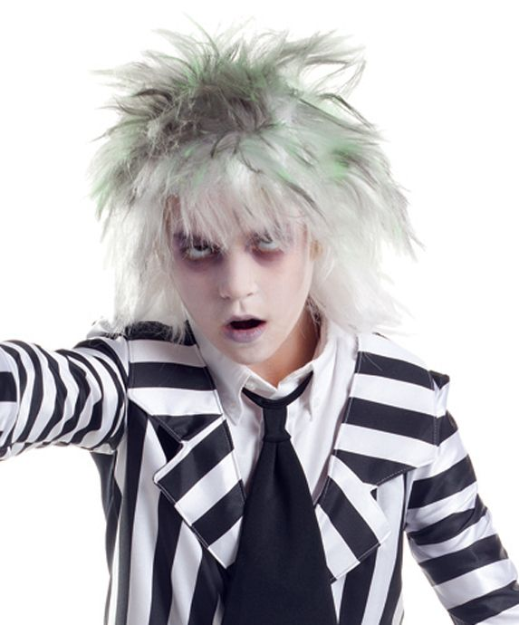 Totally Costume.com  Our kids Beetlejuice Wig features white synthetic hair with green and gray highlight at the top. It is styled in an unkempt shag with shorter spiky layers at the top trailing off into shoulder-length choppy tresses. Inner mesh netting with elastic band provides a comfortable fit. Our Beetlejuice Wig for kids is an ideal accessory for topping off your child's graveyard zombie, scary ghost or Beetlejuice costume to name a few. One size fits most kids.