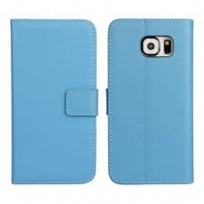 Samsung Galaxy S6 - Genuine Leather Flip Stand Protective Phone Cover Case Wallet - Blue