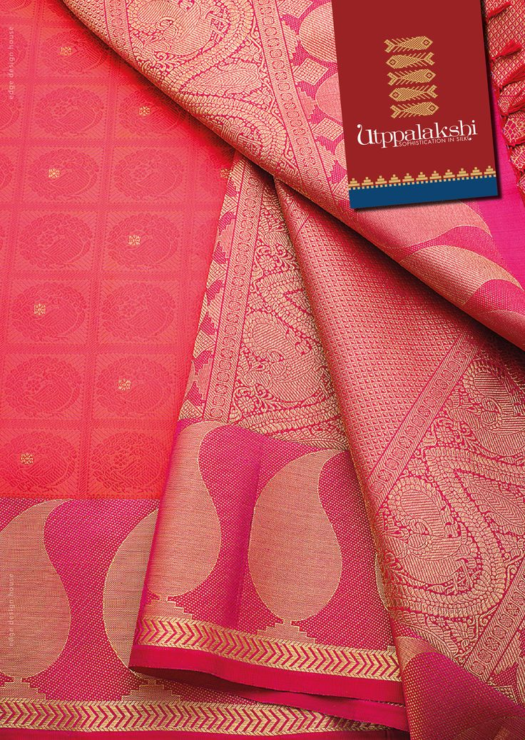 Red Jacquard saree. With graphic mango motifs in the border and beautiful annam over the pallu exquisitely woven. Traditional motifs have never been so chic. #Utppalakshi #Sareeoftheday#Silksaree#Kancheevaramsilksaree#Kanchipuramsilks #Ethinc#Indian #traditional #dress#wedding #silk #saree#craftsmanship #weaving#Chennai #boutique #vibrant#exquisit #pure #weddingsaree#sareedesign #colorful #elite