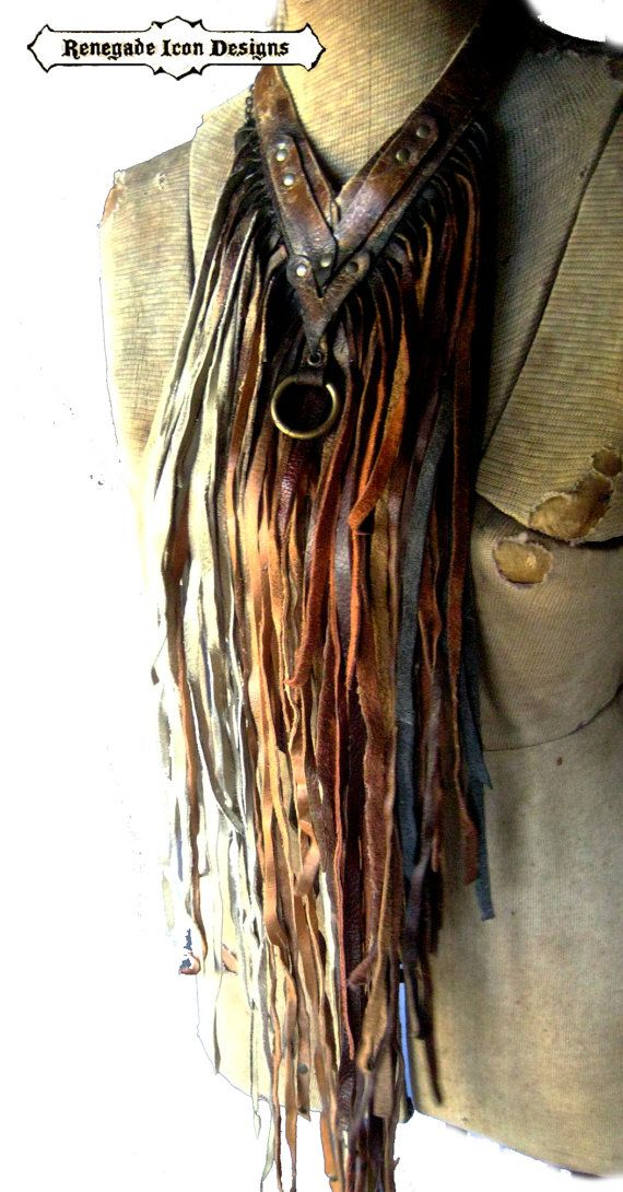 Extravagant leather fringe necklace fringe bib by Renegadeicon