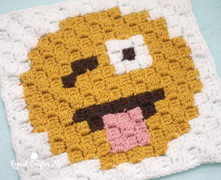 Crazy Face Emoji is the fifth square in my C2C Crochet Emoji Graphgan! If you missed square #1 you can find it here: Heart Eyes Emoji And square #2 here: Sobbing Emoji And square #3 here: Tears of Joy Emoji And square #4 here: Blowing Kiss Emoji I am creating a 9-square corner-to-corner (C2C) blanket just like my Christmas Character