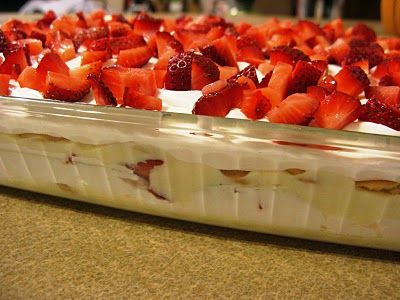 No-Bake Strawberry Shortcake Pudding. This is the perfect spring dessert! For a 9x13 pan, use 2 lbs strawberries (or more), 2 blocks softened cream cheese, and a large container of Cool Whip. Make 1-2 days in advance.