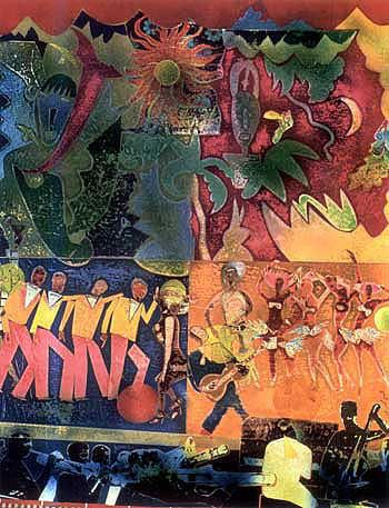 """""""Wrapping It Up at the Larayette"""" (1974) Romare Bearden"""