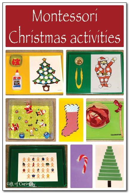 Lots of Montessori Christmas activities for kids. Get kids into the holiday spirit by putting these Chrismas Montessori activities on your shelves this year! I especially love the build a Christmas tree activity for the sensorial shelves! || Gift of Curiosity