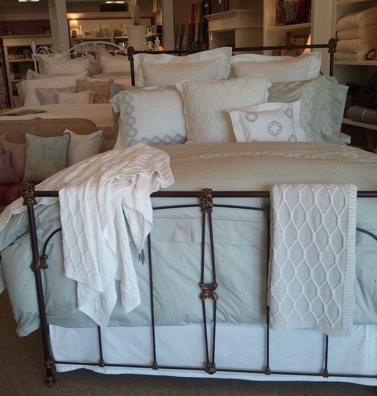 Percy's Fine Linens in Mequon, WI sets a beautiful Cossa bed in soft Silver Sage. Simply dreamy!