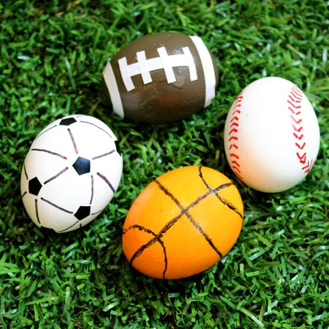 If you have athletes in the family, here are some egg decorating ideas that are sure to score at Easter or any time of the year. Decorated like baseballs, soccer balls, basketballs and footballs, these eggs will be fan favorites for any season.