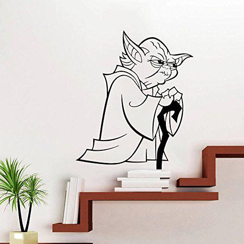 Wandtattoo Star Wars Logo Yoda Krieg der Sterne Fototapete Vinyl Aufkleber Schlafzimmer Dekoration für Zuhause Junge Kinderzimmer Wandsticker Wandbilder Wandaufkleber Wand Sticker