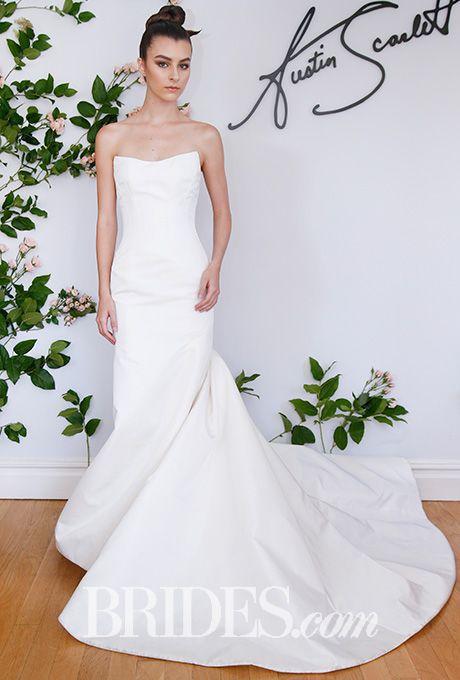 """Brides.com: . """"Waverly"""" silk radzmir column-front trumpet wedding dress with wide strapless neckline, contoured seaming, and pleated train, Austin Scarlett"""