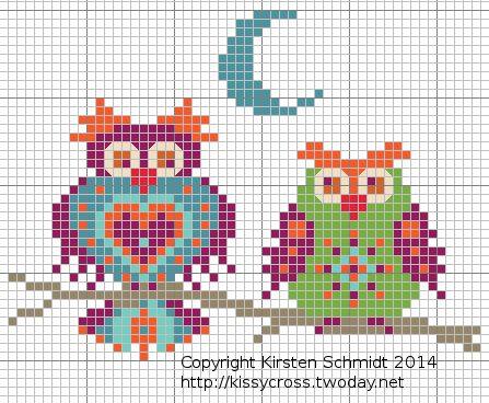 Embellished Owls Kissy Cross freebie