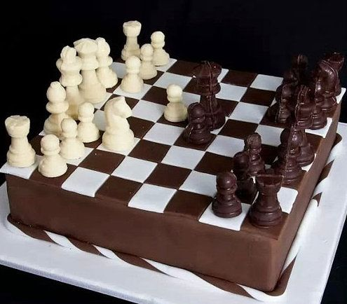 A wonderfully decadent chess set.  Savor the enemy upon capture.  Mmm.