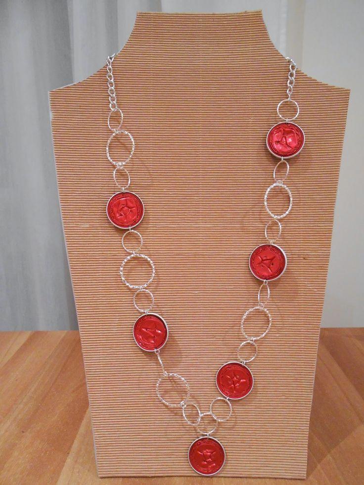 Collana con cialde Nespresso rosso chiaro e cerchi in metallo CL159 Girocollo con cialde Nespresso bronzo,ros...