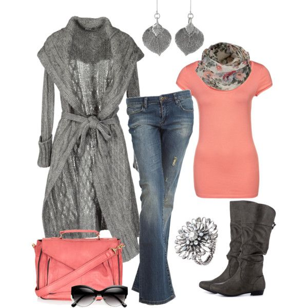 """Silver and Coral"" by smores1165 on Polyvore"
