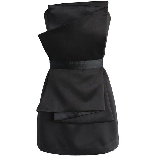 Chicwish My Sassy Secret Strapless Dress in Black ($59) ❤ liked on Polyvore featuring dresses, chicwish, vestidos, black, sexy mini dress, strapless dresses, little black dress, sexy little black dresses and strapless cocktail dresses