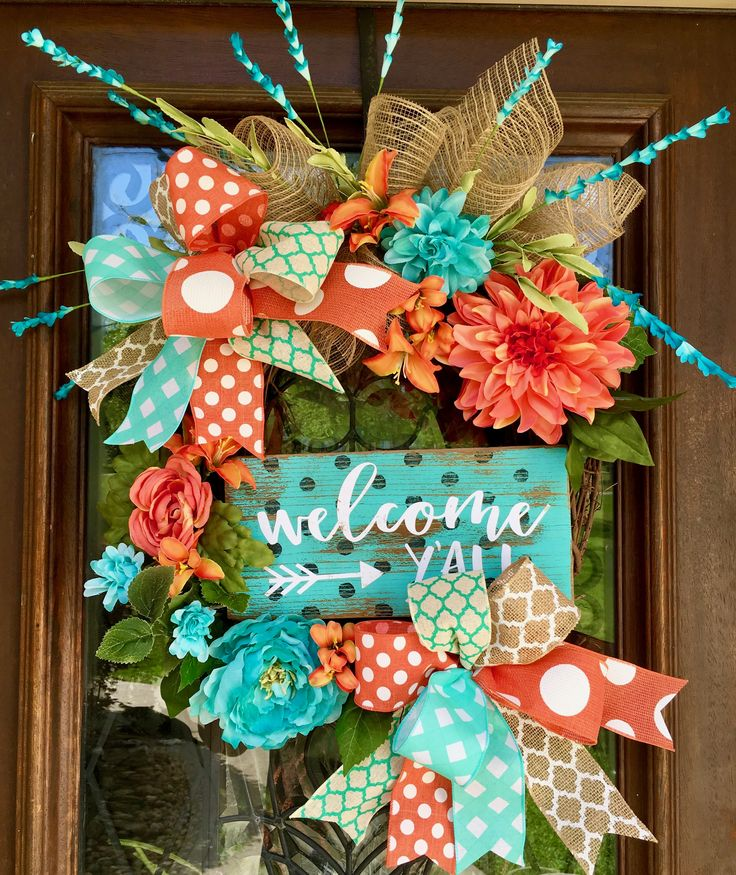 bright colored turquoise and coral grapevine wreath