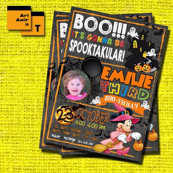 Minnie Mouse Halloween Birthday Invitation Halloween by ArtAmoris