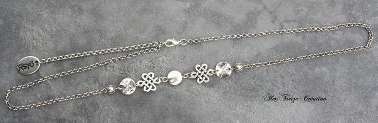 Headband - Bijou de tête argenté - Estampes et perles métal argenté