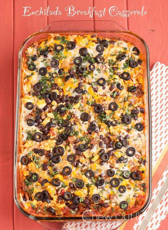 Enchilada Breakfast Casserole - Easy, make-ahead brunch food just doesn't get better than this. @chewoutloud