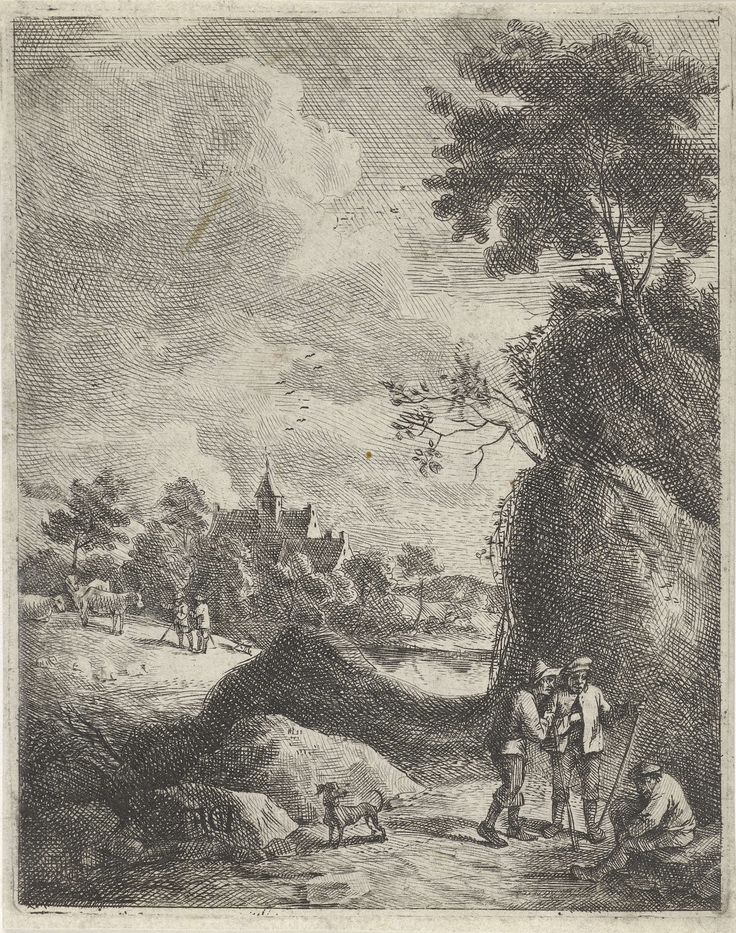 Jan Lauwryn Krafft (I) | Landschap met reizigers en twee herders, Jan Lauwryn Krafft (I), 1704 - 1765 | Bij een rotsachtige weg zijn drie reizigers met elkaar in gesprek. Op het veld achter de weg laten twee herders hun runderen grazen. Op de achtergrond is de kerktoren van een dorp te zien.