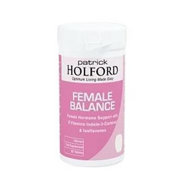 Patrick Holford Female Balance Formula 90 Tablets   Nourish Health & Beauty Store  Female Balance is a unique and specific nutrient combination designed to provide women with additional support for hormonal health. It combines B vitamins, zinc and magnesium, which contribute to the production of hormones, with the innovative ingredients indole-3-carbinol and isoflavones.