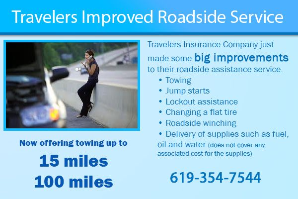 If you have Travelers for your car insurance, get ready for some good news that can get you out of a grind.  Travelers is improving their roadside assistance feature. They now offer up to 100 miles of towing for just $12 per year (Vs. AAA which is $60 per year).  Their roadside services also include: • Towing • Jump starts • Lockout assistance • Changing a flat tire • Roadside winching • Delivery of supplies such as fuel, oil and water (does not cover any associated cost for the supplies)
