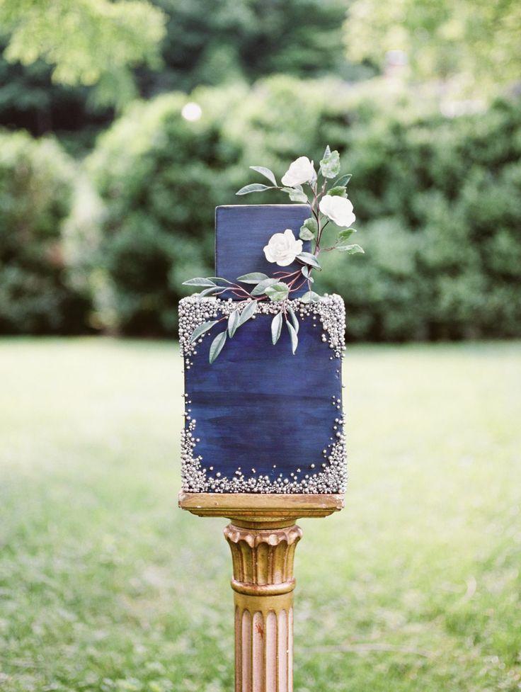 Navy blue square wedding cake