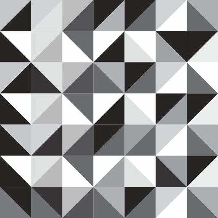 Papel de Parede Autocolante Abstrato Geométrico Preto E Branco 141914704