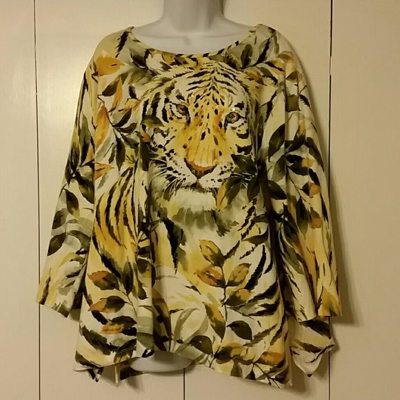 *SALE *  Plus Size  Shirt Beautiful Tiger print shirt , Pictures don't do this shirt justice. Gold sequence make this shirt a show stopper! NWOT Alfred Dunner Tops