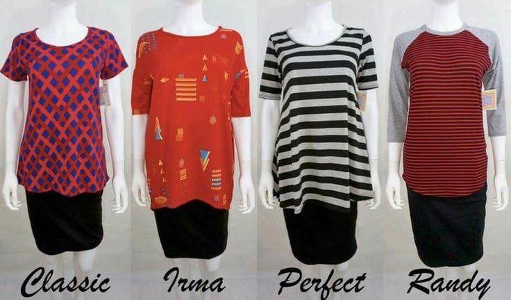 A comparison of the different types of LuLaRoe shirts #lularoe #lularoeangelaandchristina #classic #irma #perfect #randy #shirts #comparison