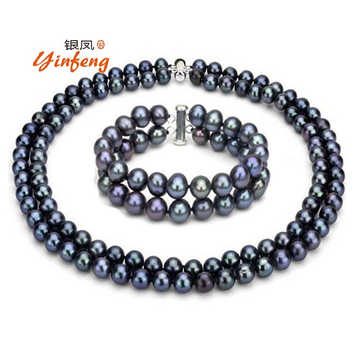 [Yinfeng]Fashion black pearl jewelry set for women 100% natural freshwater pearl necklace/bracelet top quality elegant 7-8mm