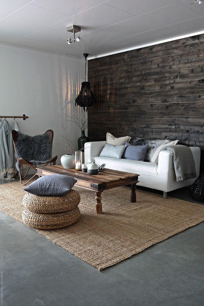 Svennhytta: Stua - akkurat nå  Nordic interior, Nordal, Broste Copenhagen, Concrete floor, Rustic, Butterfly chair, IKEA, Klippan