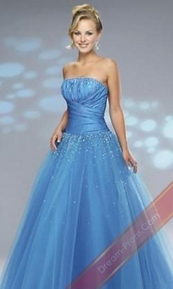 Tube Dress By 8117-7079,Long Prom Dress,Blue Dresses for Prom 2012