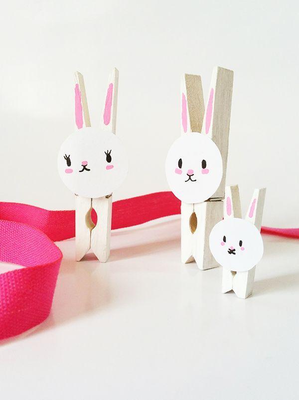 Des lapins en pince à linge